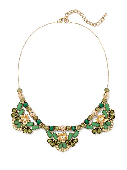Goldtone Beaded Floral Necklace  - New York & Company