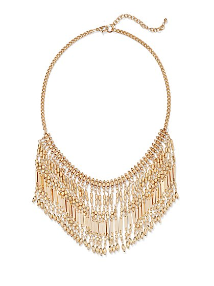 Goldtone Beaded Fringe Necklace  - New York & Company