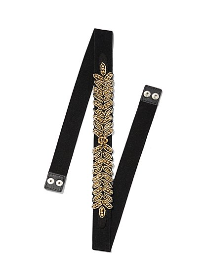 Goldtone Beaded Stretch Belt  - New York & Company