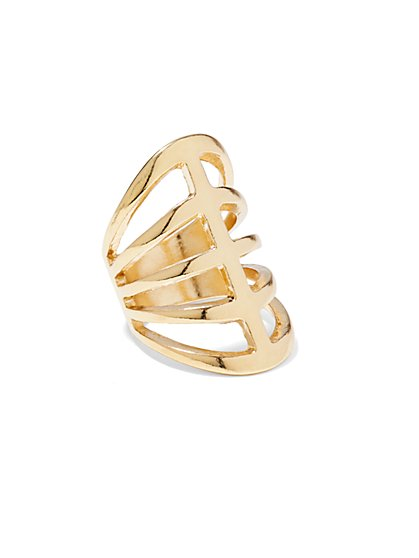 Goldtone Cage Ring  - New York & Company