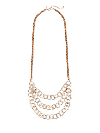 Goldtone Chain-Link & Cord Necklace  - New York & Company