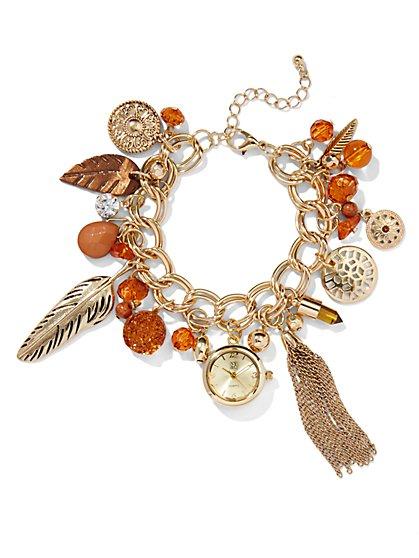Goldtone Charm Bracelet Watch  - New York & Company