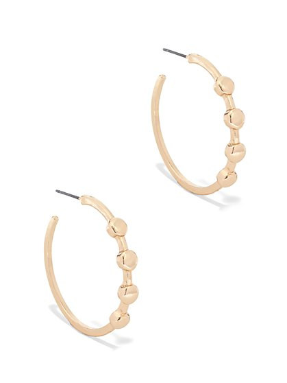Goldtone Dot Hoop Earring  - New York & Company