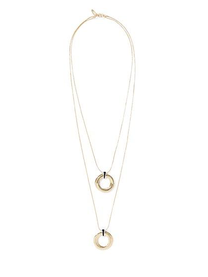 Goldtone Double-Circle Pendant Necklace  - New York & Company