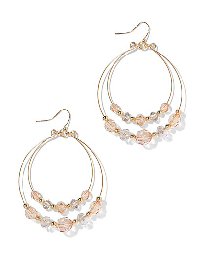 Goldtone Double-Hoop Drop Earring  - New York & Company
