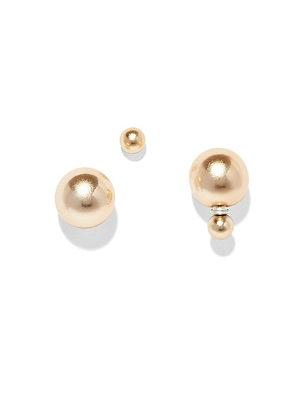 Goldtone Double Sphere Earring  - New York & Company