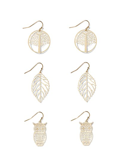 Goldtone Drop Earring Trio  - New York & Company