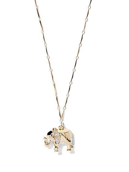 Goldtone Elephant Pendant Necklace  - New York & Company
