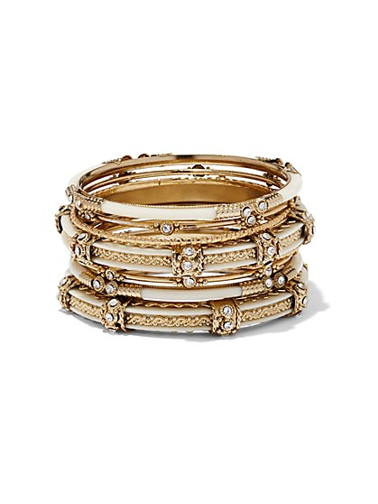 Goldtone Enamel Bangle Set  - New York & Company