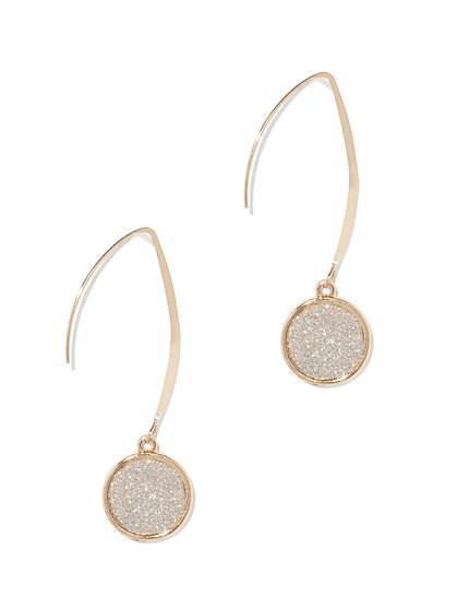 Goldtone Faux Druzy Drop Earring  - New York & Company