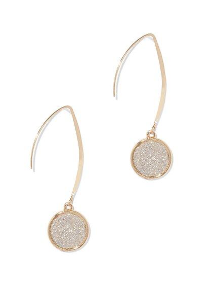 Goldtone Faux Druzy Drop Earring  - New York & Company