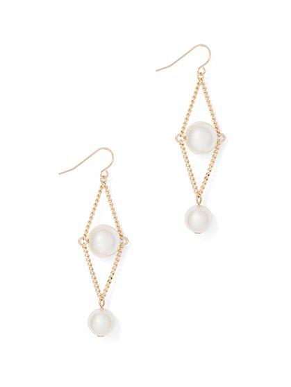 Goldtone Faux-Pearl Drop Earring  - New York & Company