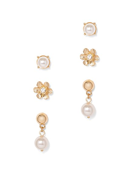 Goldtone Faux-Pearl Post Earring Set  - New York & Company