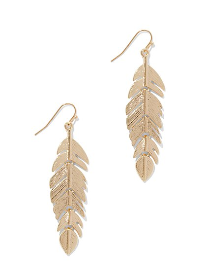 Goldtone Feather Drop Earring  - New York & Company