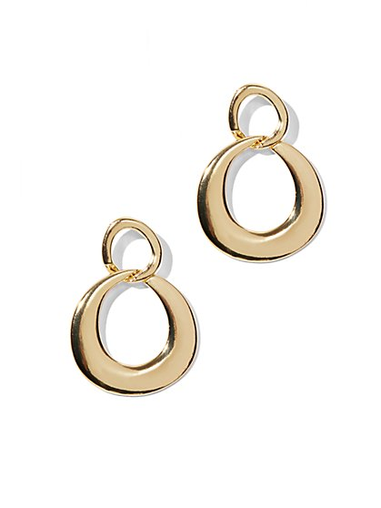 Goldtone Figure-8 Hoop Earrings  - New York & Company