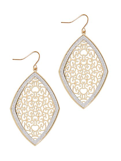Goldtone Filigree Drop Earring  - New York & Company