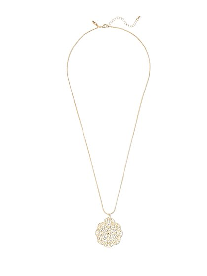 Goldtone Filigree Pendant Necklace  - New York & Company