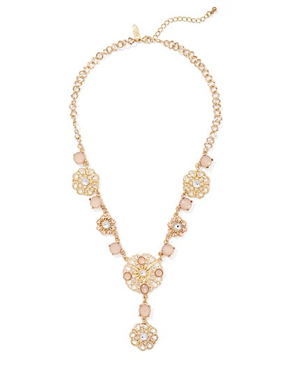 Goldtone Filigree Statement Necklace  - New York & Company