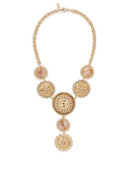 Goldtone Filigree Y-Shaped Necklace  - New York & Company