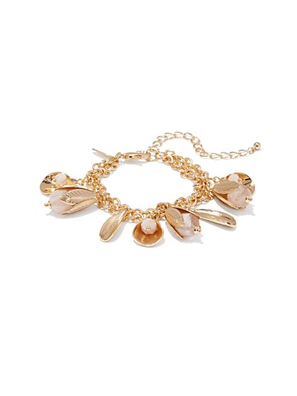 Goldtone Floral Charm Bracelet  - New York & Company