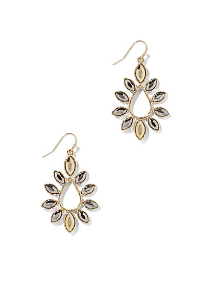 Goldtone Floral Teardrop Earring  - New York & Company