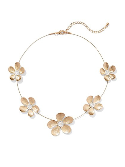 Goldtone Flower Necklace  - New York & Company