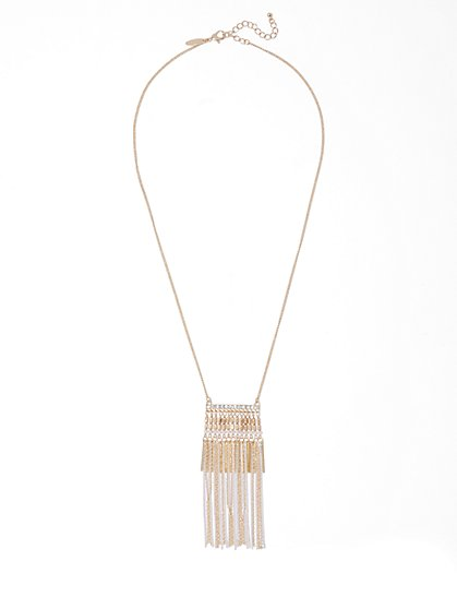 Goldtone Fringe Pendant Necklace  - New York & Company