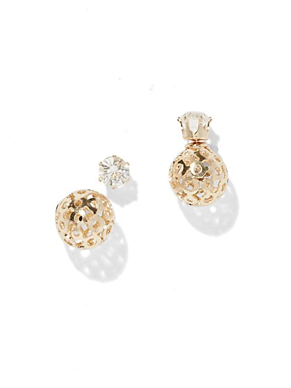 Goldtone Front/Back Earring  - New York & Company