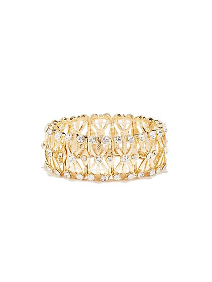 Goldtone Glass-Accent Stretch Bracelet  - New York & Company