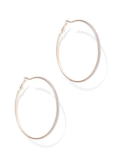 Goldtone Glitter Hoop Earring  - New York & Company