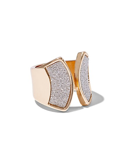 Goldtone Glitter Ring  - New York & Company