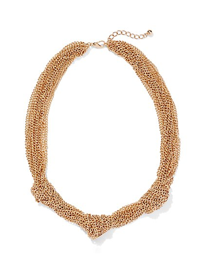 Goldtone Knotted Mesh Necklace - New York & Company