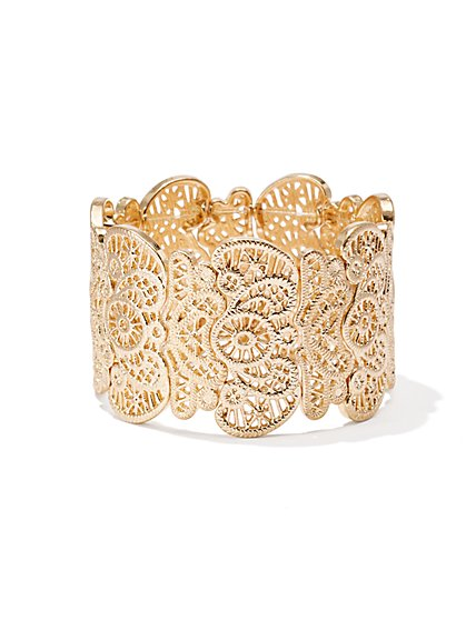 Goldtone Lace Stretch Bracelet  - New York & Company