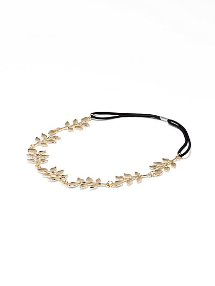 Goldtone Leaf Headband  - New York & Company