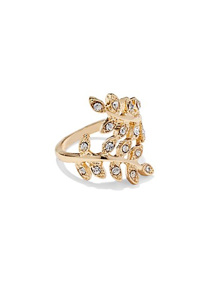 Goldtone Leaf Wrap Ring  - New York & Company