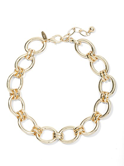 Goldtone Open-Circle Chain-Link Necklace - New York & Company