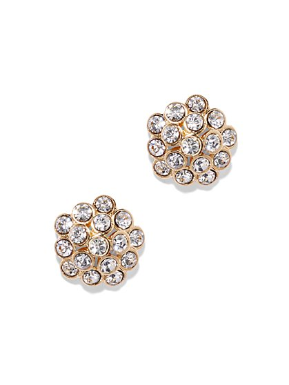 Goldtone Pavé Cluster Earring  - New York & Company