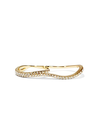 Goldtone Pavé Double-Finger Ring   - New York & Company