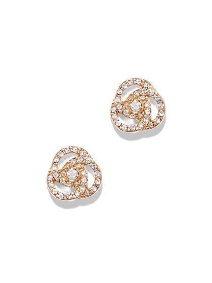 Goldtone Pavé Knot Earring  - New York & Company