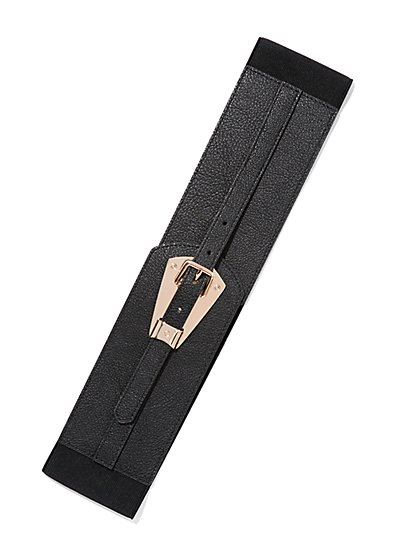 Goldtone Plaque-Accent Stretch Belt  - New York & Company
