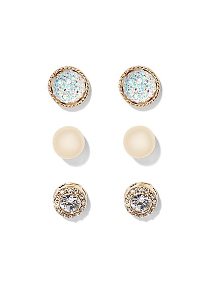 Goldtone Post Earring Trio Set  - New York & Company