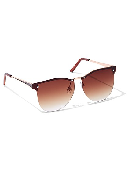 Goldtone Shield Sunglasses  - New York & Company