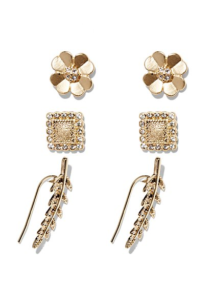 Goldtone Trio Earring Set  - New York & Company