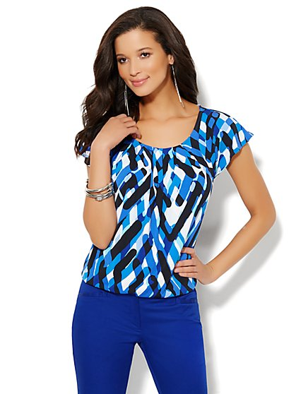 Graphic Flutter-Sleeve Top - Petite - New York & Company