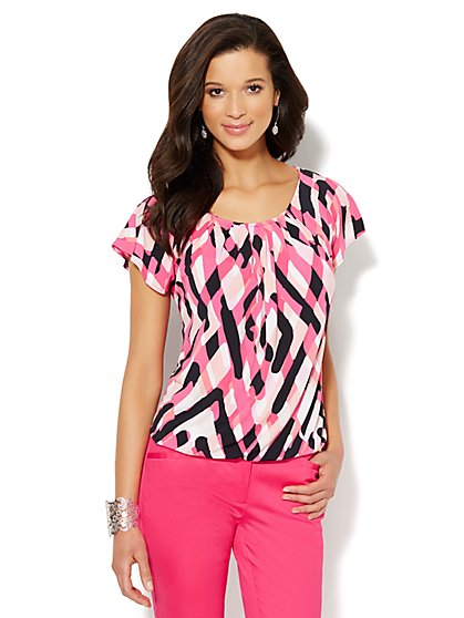 Graphic Flutter-Sleeve Top  - New York & Company