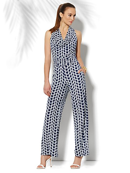 Graphic-Print Draped Sleeveless Jumpsuit - New York & Company