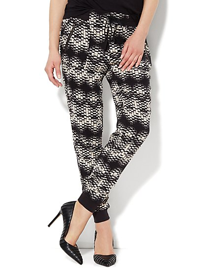 Graphic-Print Drawstring Jogger  - New York & Company
