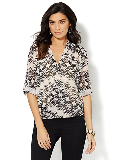 Graphic-Print Faux-Wrap Blouse  - New York & Company