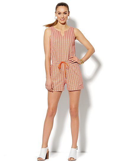 Graphic-Print Split-Neck Romper  - New York & Company