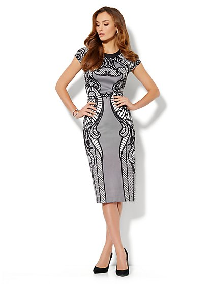 Graphic Scuba Sheath Dress - New York & Company